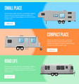 modern camping trailer flyers set vector image