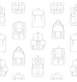 monochrome seamless pattern with backpacks or vector image