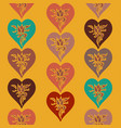 multicolored hearts pattern vector image vector image