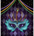 necklace balls and mask to mardi gras celebration vector image