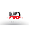 no n o brush logo letters with red and black vector image vector image