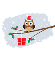 owl santa hat card snow vector image vector image