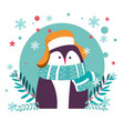 penguin animal wearing warm hat and knitted scarf vector image vector image