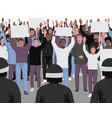 protesting people with hands up and police vector image vector image