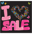 Sale concept with heart and butterfly vector image vector image