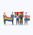 same sex couples holding rainbow flag mix race vector image vector image