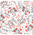 seamless pattern with faces cats and rabbits vector image