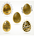 set golden eggs with easter greeting type vector image vector image