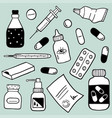 set of health care and medicine objects vector image