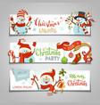 set of horizontal christmas banners vector image vector image
