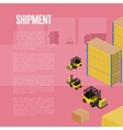 Shipment isometric concept with warehouse vector image vector image