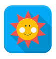 Smiling sun over sky app icon with long shadow vector image vector image