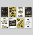 valentines day hand drawn greeting cards designs vector image vector image