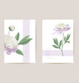wedding peony floral save date set vector image