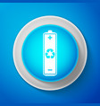 white battery with recycling symbol icon isolated vector image