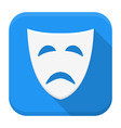 Tragedy mask app icon with long shadow vector image