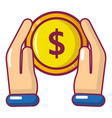 hand coin icon cartoon style vector image