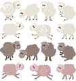14 stylized sheep isolated on white background vector image