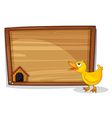An empty board with a yellow duckling vector image vector image
