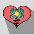 broken heart with aid bands design vector image