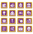 business icons set purple square vector image
