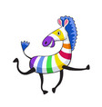 cartoon colorful zebra vector image vector image