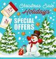 christmas and new year sale special offer banner vector image