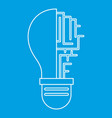 circuit board inside light bulb icon outline vector image vector image