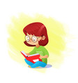 closeup happy girl reading book alone vector image vector image