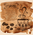 Coffee cup on a watercolor background vector image vector image