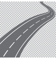 Curved road with white markings vector image vector image