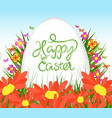 easter egg poster background with sunflowers vector image vector image