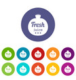 eco fresh juice icons set color vector image vector image