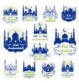 eid mubarak ramadan kareem greetings icon set vector image vector image
