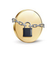 gold coin with padlock coin security concept 3d vector image vector image