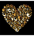 Golden Valentines floral love heart vector image