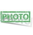 Green outlined PHOTO stamp vector image vector image