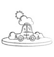 grunge police car service with cloud and sun vector image vector image