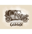 Hand-drawn retro car Sketch vector image vector image
