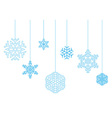 hanging snowflakes on a white background vector image vector image