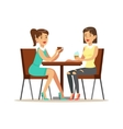 Happy Best Friends Drinking Coffee In Cafe Part vector image vector image