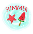 hello summer card with handdrawn red lettering vector image