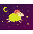 lamb flies in the starry sky between the stars vector image vector image