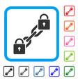lock blockchain framed icon vector image