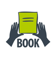 logo hand holding a book vector image vector image