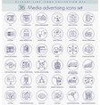Media advertising outline icon set Elegant vector image vector image