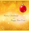 merry christmas gold background with 3d red ball vector image vector image