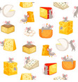 mice and pieces cheese seamless pattern vector image vector image