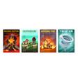 natural disasters posters set vector image vector image