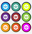 pokeball icon sign Nine multi colored round vector image vector image